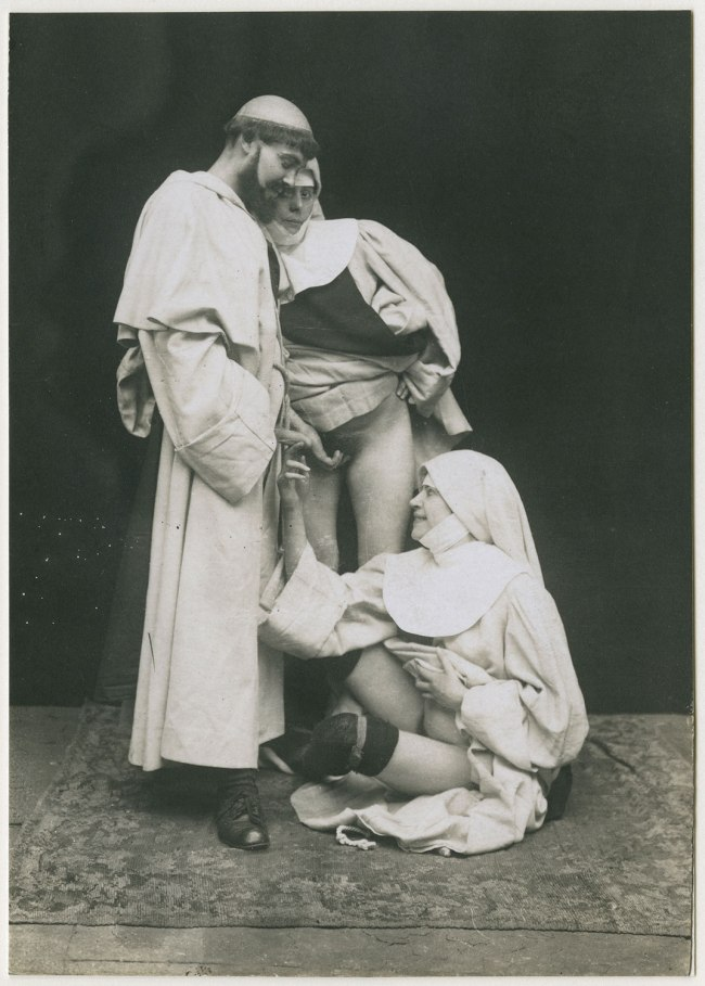Unknown photographer. 'Group sexual encounter between a man and two women dressed in clerical costumes' 1883-1885