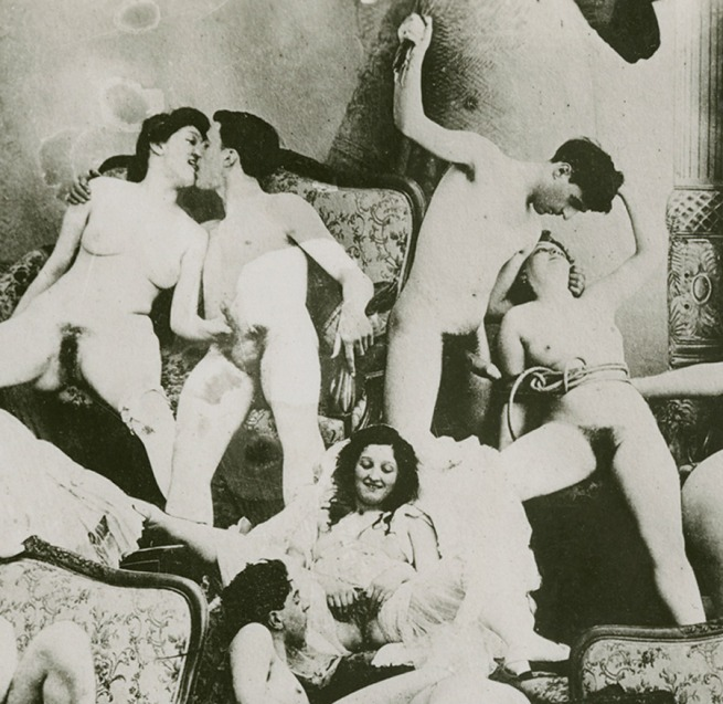 Unknown photographer. 'Photomontage of men and women engaged in sexual activity' 1895-1900 (detail)