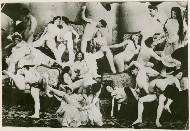 Unknown photographer. 'Photomontage of men and women engaged in sexual activity' 1895-1900