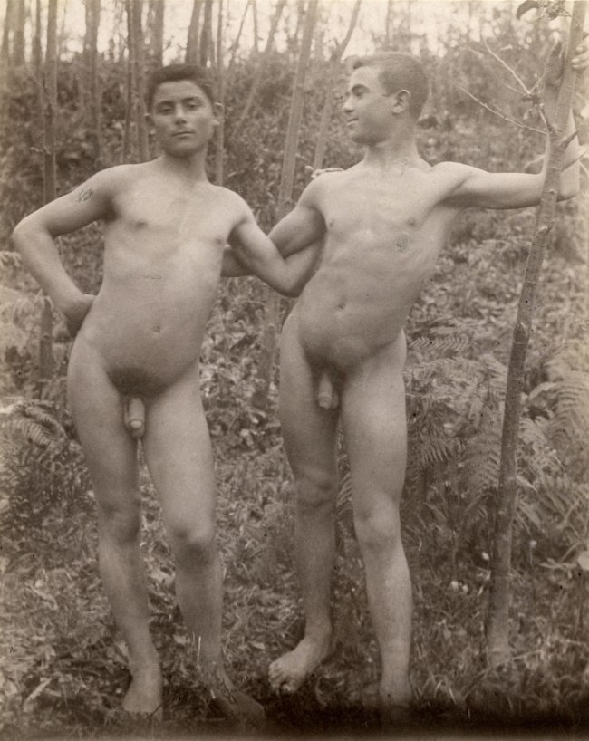 Baron Wilhelm von Gloeden (1856-1931), Germany 'Two nude men standing in a forest' Taormina, Sicily, 1899