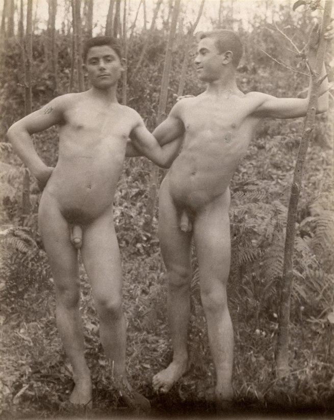 Baron Wilhelm von Gloeden (1856-1931), Germany 'Two nude men standing in a forest' Taormina, Sicily, 1899