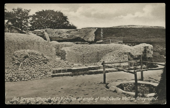 F. Frith & Co. Ltd., Reigate (British, 1959 - 1970) 'Old Sarum, Chapel Of St Nicholas at angle of Wall, Castle well in foreground' 1913