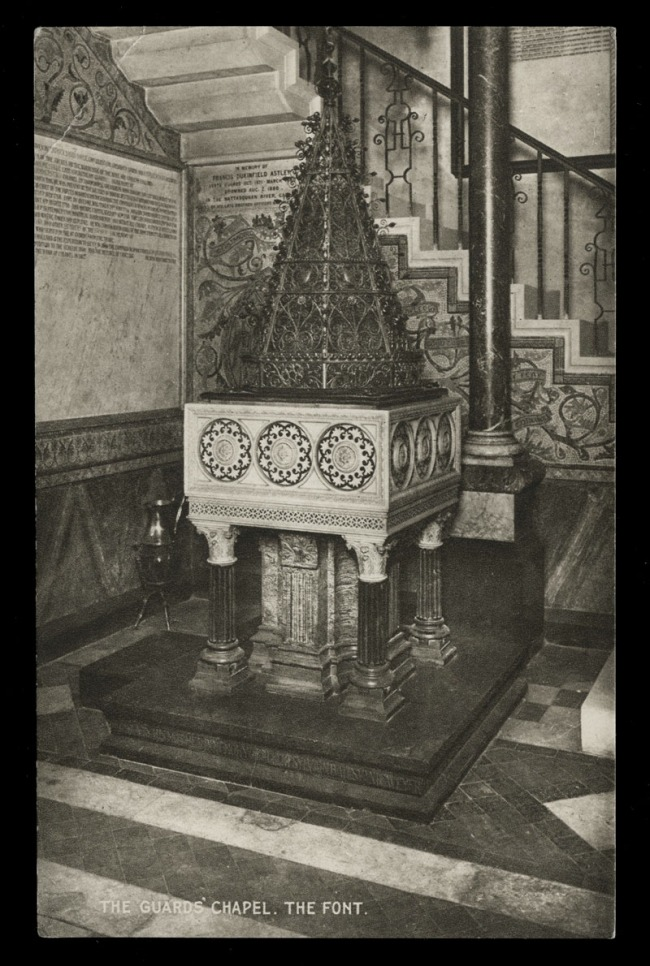 Raphael Tuck & Sons (British) 'The Guard's Chapel, The Font' (front and verso) Nd