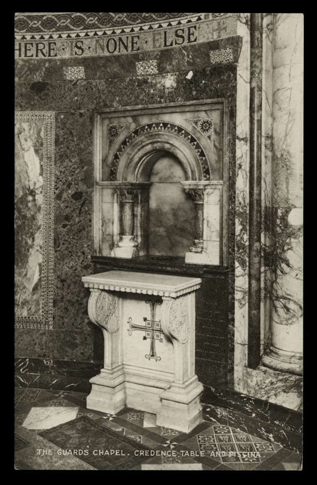 Raphael Tuck & Sons (British) 'The Guard's Chapel, Credence Table and Pissina' Nd