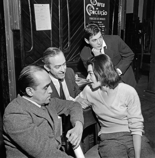José Medeiros (1921-1990) 'Oscar Niemeyer, Vinicius de Moraes, his wife Lila and Tom Jobim Bôscoli (background), behind the scenes of the first performance of Orfeu da Conceição, Rio de Janeiro' 1956