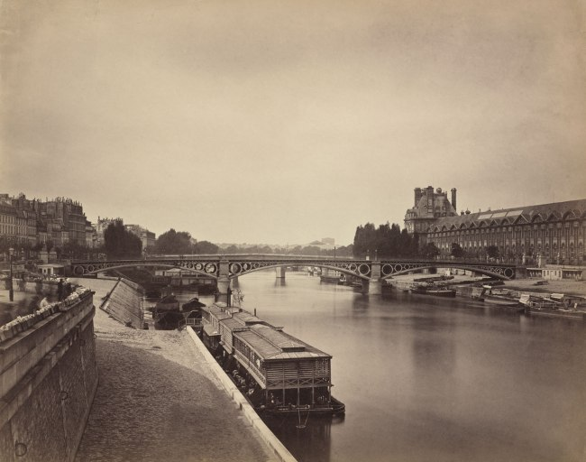 Gustave Le Gray. 'The Pont du Carrousel, Paris: View to the West from the Pont des Arts' 1856-1858