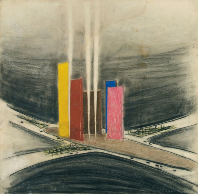 Luis Barragán. 'Torres de Satélite (1957), Ciudad Satélite, Mexico City, Perspective view of the towers' Undated