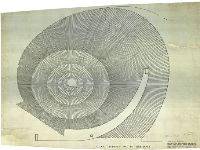 Esguerra Sáenz y Samper. 'Luis Ángel Arango Library (Biblioteca Luis Ángel Arango), Bogotá, Colombia'. Cover plan of concert hall. 1965
