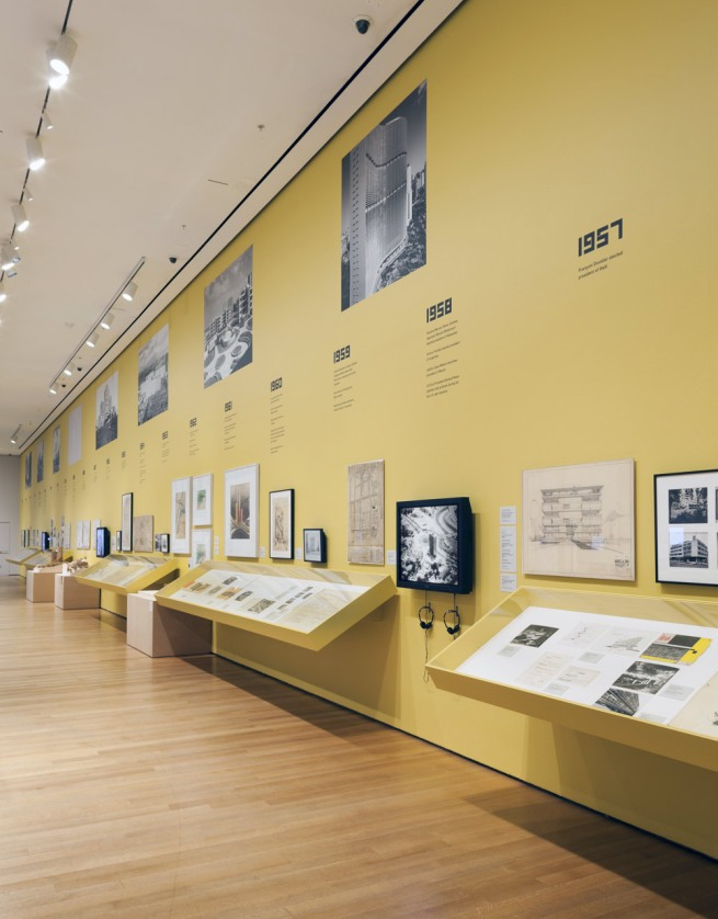 Installation photograph of the exhibition 'Latin America in Construction' at MoMA, New York