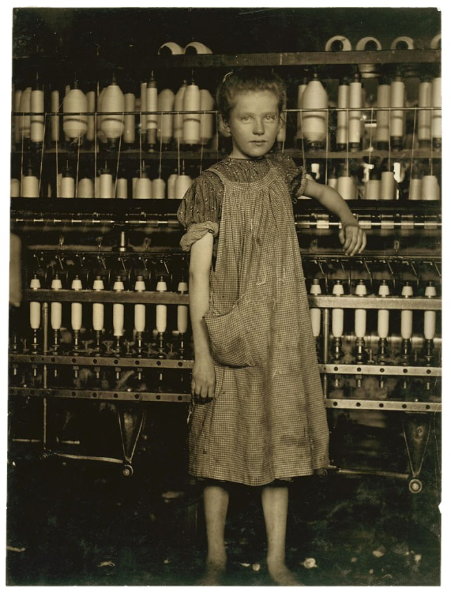 Lewis Hine. 'An Anaemic Little Spinner in a New England Cotton Mill (North Pownal, Vermont)' 1910