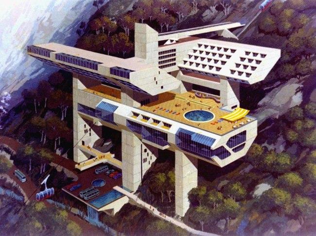 Miguel Rodrigo Mazuré (Peruvian, 1926–2014) 'Hotel in Machu Picchu, Machu Picchu (Project)' 1969