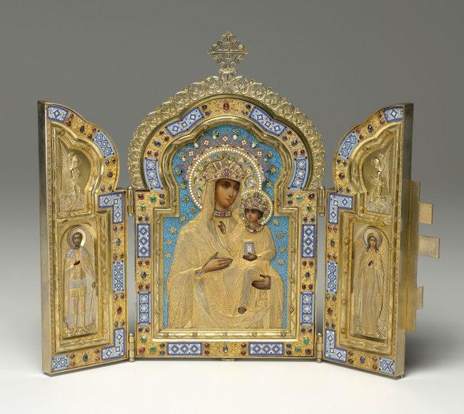 Pavel Ovchinnikov. 'The Holy Virgin of Kazan, Saint Prince Aleksandr Nevskii, Saint Mary Magdalene' 1891