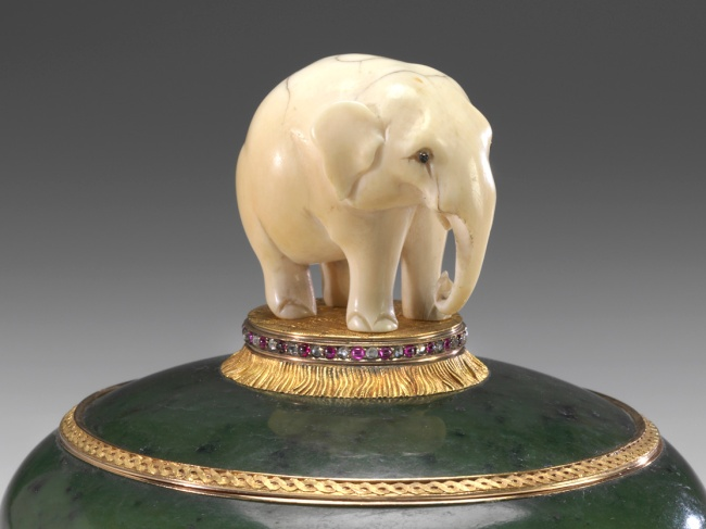 Peter Karl Fabergé (Russian, 1846-1920) 'Elephant Box' (detail) before 1899