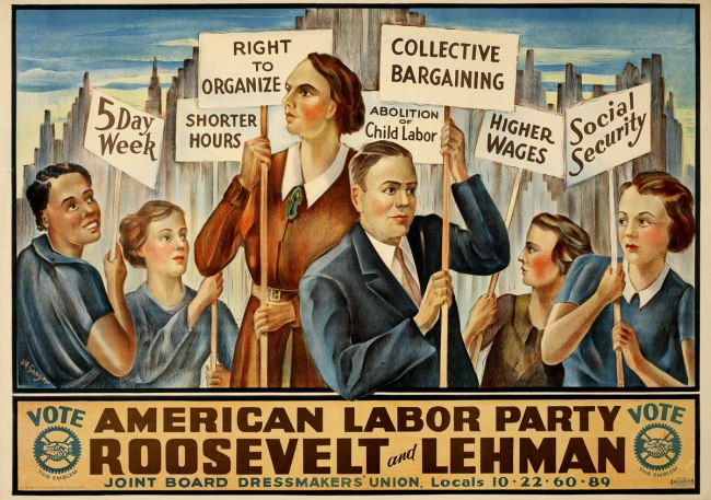 Unidentified artist. 'Vote American Labor Party; Roosevelt and Lehman' 1936