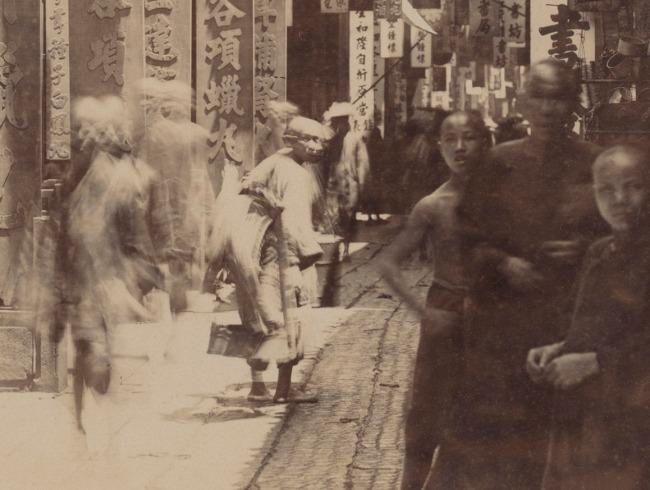 A. Chan. 'Sheung-mun-tai Street in Canton' (detail) c. 1870