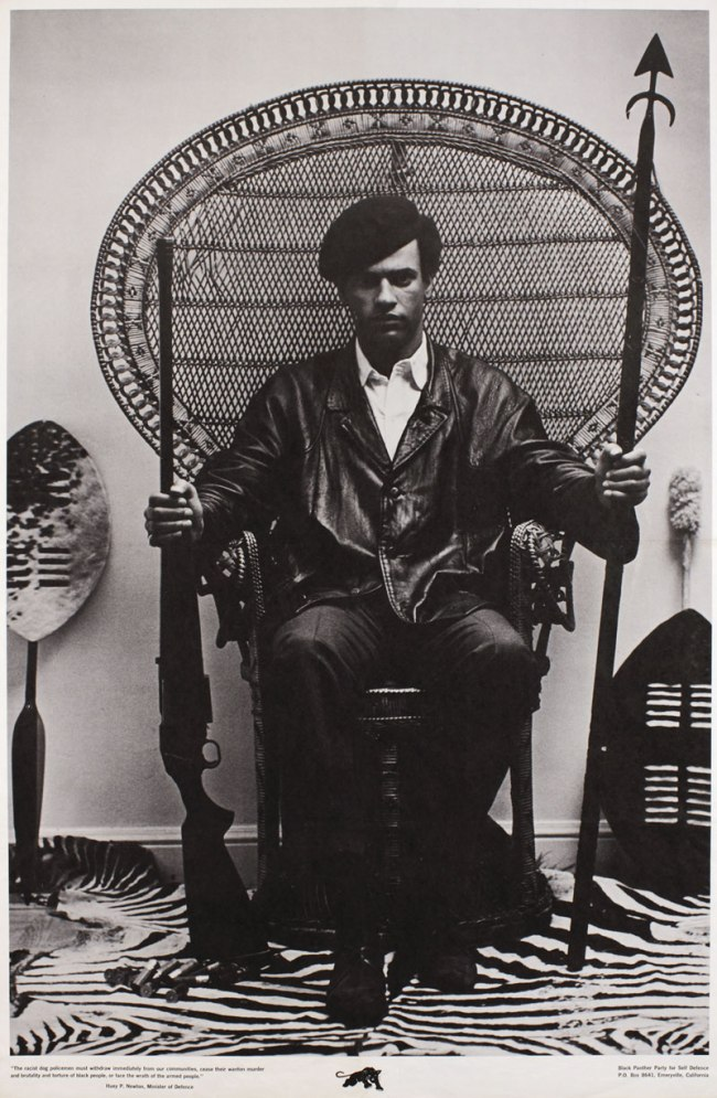 Photography attributed to Blair Stapp Composition by Eldridge Cleaver. 'Huey Newton seated in wicker chair' 1967