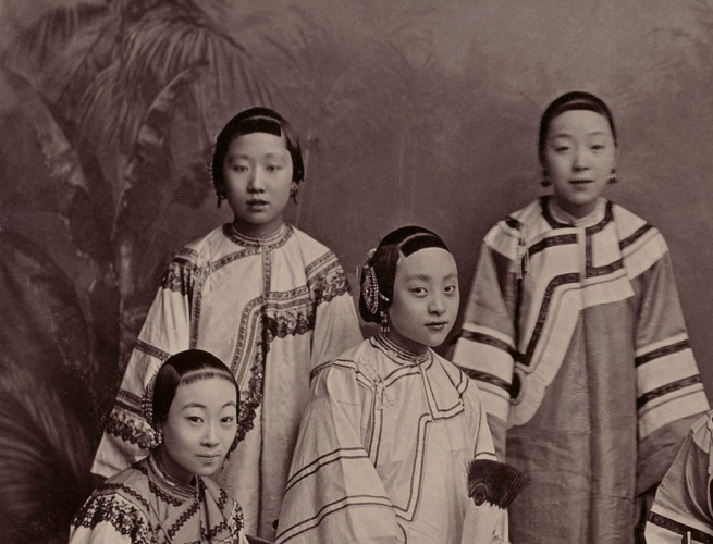 Afong. 'Studio Portrait of Courtesans in Shanghai' (detail) c. 1875-1880