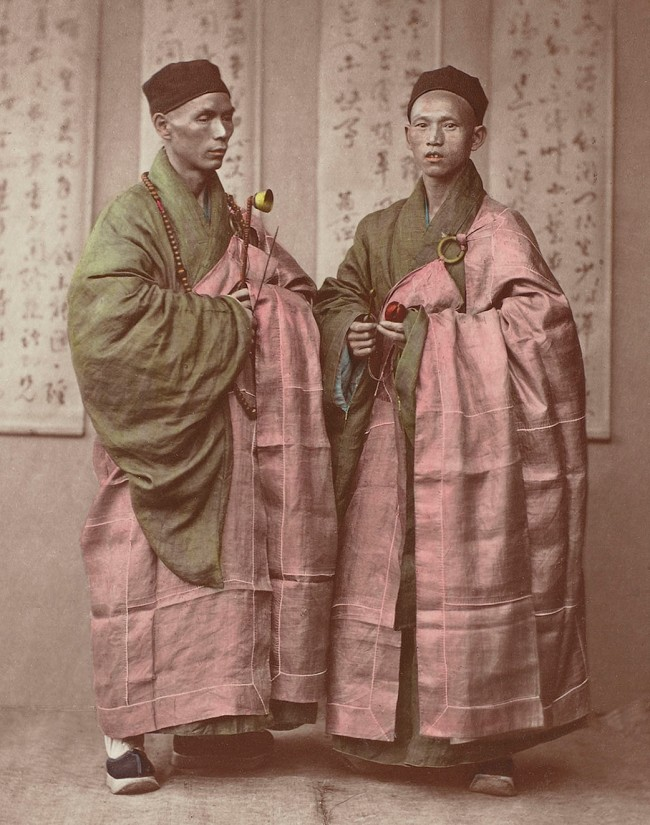 Attributed to Baron Raimund von Stillfried und Ratenitz. 'Portrait of two Chinese Buddhist monks with rosary, bell and slit drum' (detail) 1875
