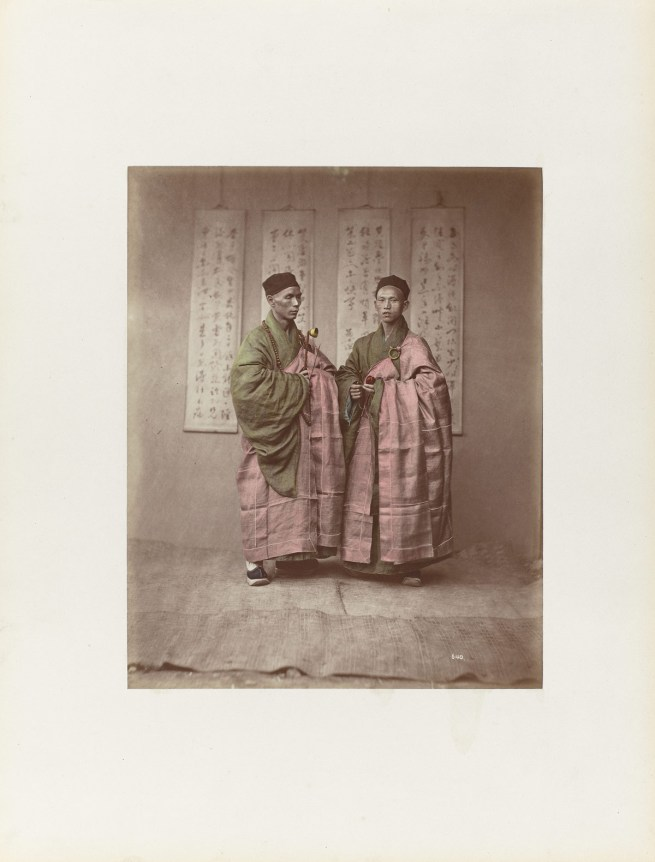 Attributed to Baron Raimund von Stillfried und Ratenitz. 'Portrait of two Chinese Buddhist monks with rosary, bell and slit drum' 1875