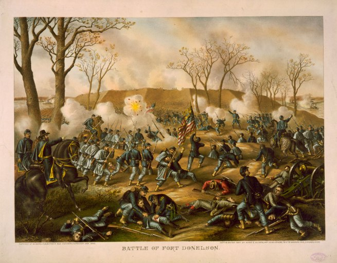 Kurz and Allison. 'Battle of Fort Donelson - Capture of Generals S.B. Buckner and his army, February 16th 1862' c. 1887