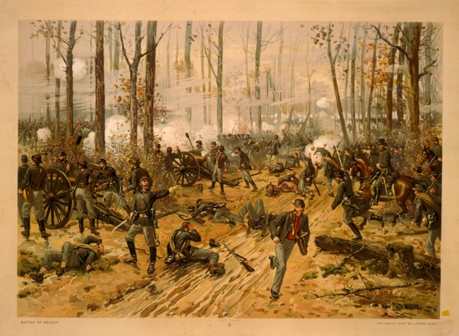 L. Prang & Co. Thulstrup, Thure de, 1848-1930 , artist. 'Battle of Shiloh / Thulstrup, April 6-7, 1862' c. 1888