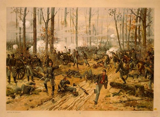L. Prang & Co. Thulstrup, Thure de, 1848-1930 , artist. 'Battle of Shiloh / Thulstrup, April 6-7, 1862' c. 1888