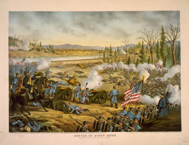 Kurz and Allison. 'Illustration of the Battle of Stones River, which occurred on December 31, 1862 and January 2-3, 1863' 1891