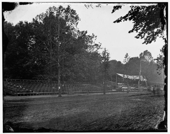 Mathew B. Brady. 'Untitled [Presidential reviewing stand, Washington, D.C., May, 1865]' 1865