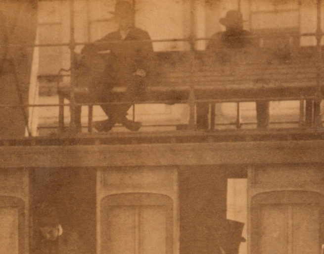 Arthur K. Syer (d. 1935) 'Forest Lodge double decker steam tram stopped on Elizabeth Street near Supreme Court N.S.W.' (detail) c. 1880s - 1900
