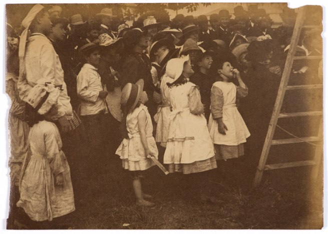 Arthur K. Syer (d. 1935) 'Children crowd around a ladder' c. 1880s - 1900