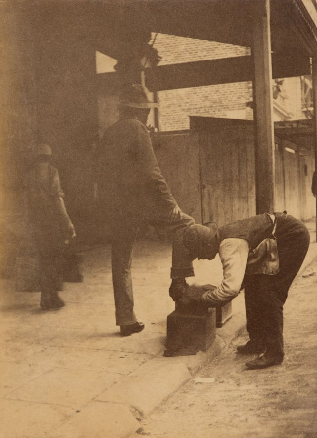Arthur K. Syer (d. 1935) 'Shoe shiner with customer' c. 1880s - 1900