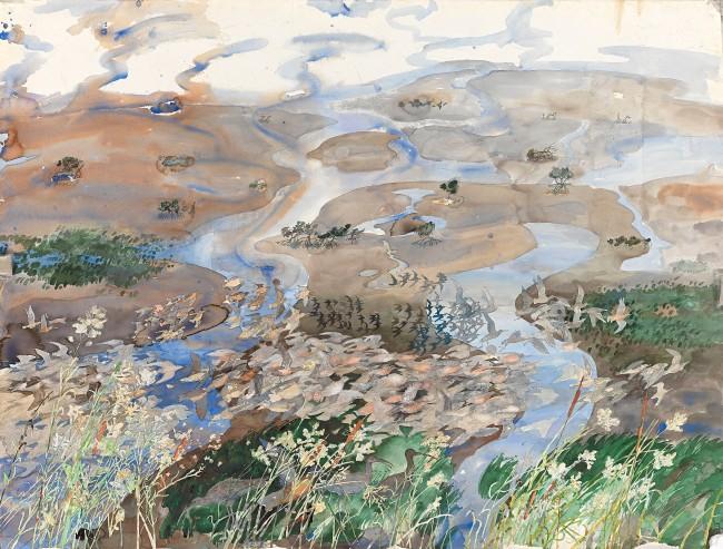 John Wolseley. 'From Siberia to Roebuck Bay - the godwits reach the mangrove swamps, WA' (detail) 2012