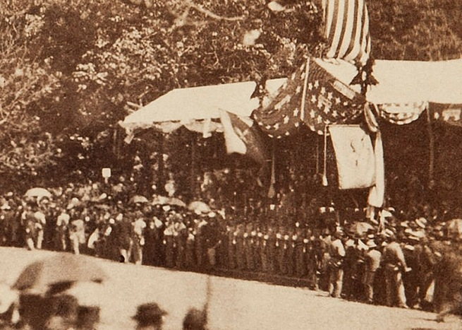 Alexander Gardner. 'Untitled [Presidential reviewing stand, Washington, D.C., May, 1865]' 1865 (detail)