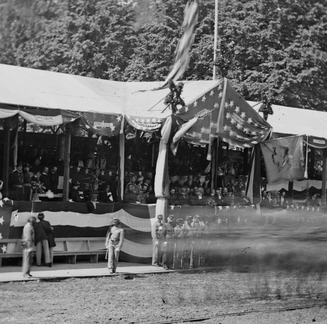 Mathew B. Brady. 'Untitled [Presidential reviewing stand, Washington, D.C., May, 1865]' 1865 (detail)
