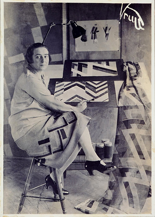 Germaine Krull. 'Sonia Delaunay in her studio at boulevard Malesherbes, Paris, France' 1925