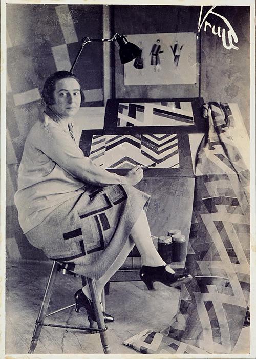 Germaine Krull. 'Sonia Delaunay in her studio at boulevard Malesherbes, Paris, France' 1925