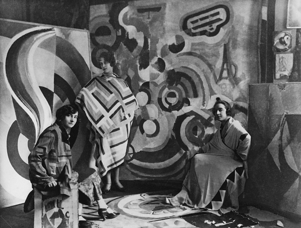 Sonia Delaunay (right) and two friends in Robert Delaunay's studio, rue des Grands-Augustins, Paris 1924