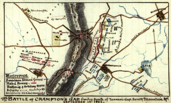 Robert Knox Sneden (1832-1918) 'The Battle of Crampton's Gap : 5 miles south of Turner's Gap, South Mountain, Md. September 14th 1862' 1862-1865