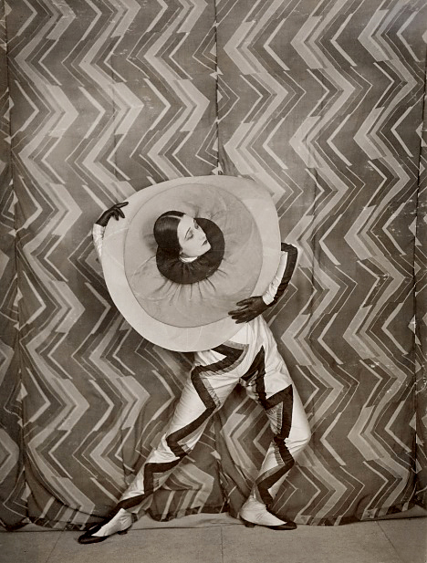 Wearing the Pierrot-Éclair costume designed by Sonia Delaunay, on the set of René Le Somptier's film 'Le P'tit Parigot' 1926