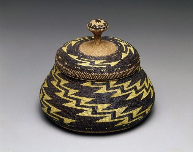 "Elizabeth Conrad Hickox (Karuk) Somes Bar, California '""Fancy"" lidded basket' c. 1917–26"
