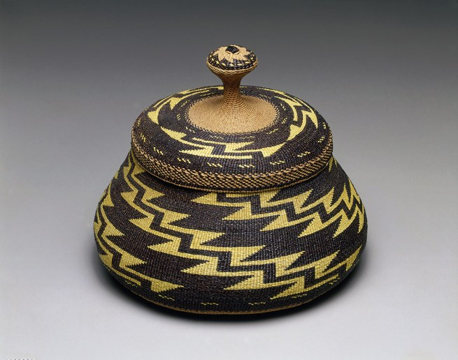 "Elizabeth Conrad Hickox (Karuk) Somes Bar, California '""Fancy"" lidded basket' c. 1917–26"