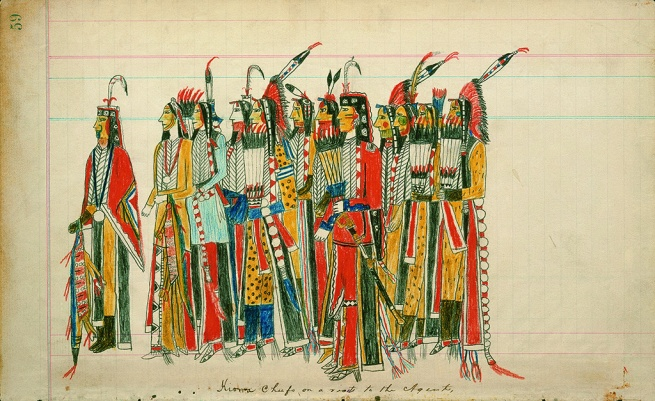 Julian Scott ledger Artist B (Ka'igwu [Kiowa]) Kiowa and Comanche Indian Reservation, Oklahoma. 'Twelve High-Ranking Kiowa Men' Nd