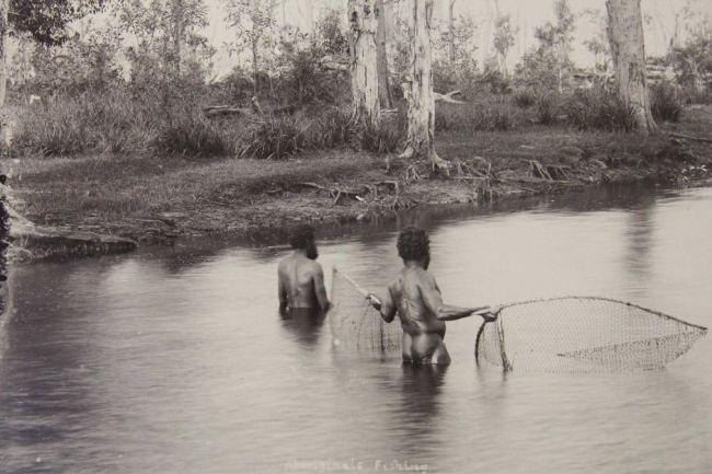 Alfred Elliott. 'Aborigines fishing in the Maroochy River' 1890