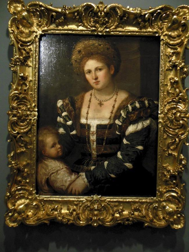 Paris Bordone (Italian 1500-71) 'Portrait of a lady with a boy' Mid 1530s