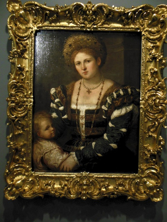 Paris Bordone (Italian 1500-71) 'Portrait of a lady with a boy' Mid 1530s