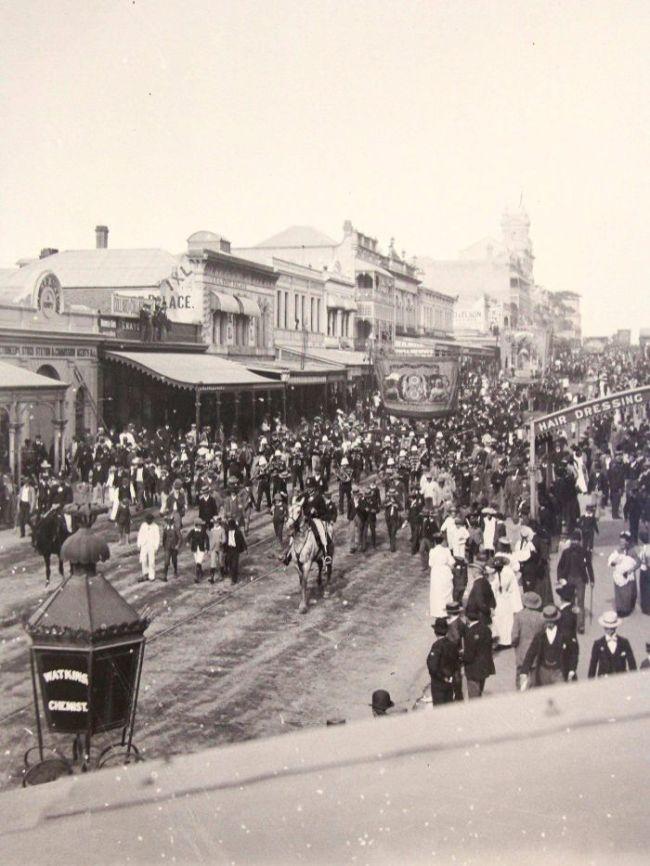 Alfred Elliott. 'Eight hour day procession on Queen Street in Brisbane city' 1893