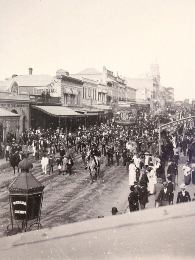 Alfred Elliott. 'Eight hour day procession on Queen Street in Brisbane city' 1893