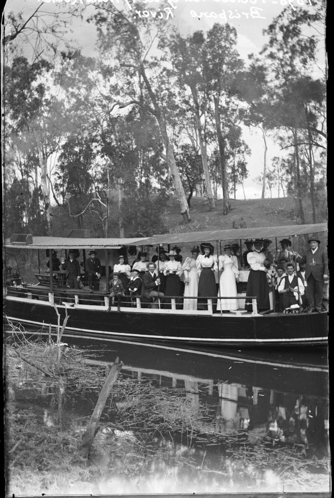 Alfred Elliott. 'Picnic party on Brisbane River at Seventeen Mile Rocks' 1898