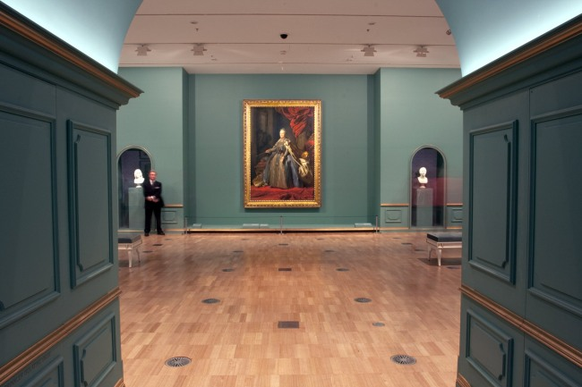 Installation view of room 1 of the exhibition 'Masterpieces from the Hermitage: The Legacy of Catherine the Great' featuring Alexander Roslin (Swedish 1718–93) 'Portrait of Catherine II' 1776–77