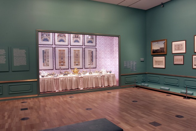 Installation view of room 1 of the exhibition 'Masterpieces from the Hermitage: The Legacy of Catherine the Great' at NGV International, Melbourne